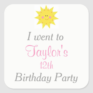 Our little Sunshine Birthday 'I went to' Square Sticker