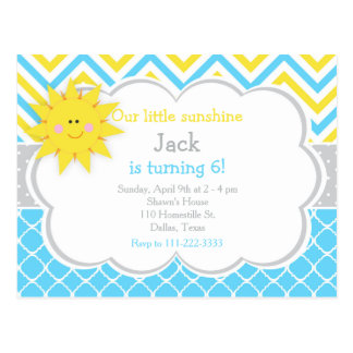Our little Sunshine Blue and Yellow Birthday Party Postcard