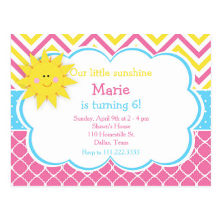 Our little Sunshine Pink and Yellow Birthday Party Postcard