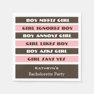 Our Love Story Bachelorette or Bridal Shower Disposable Napkins