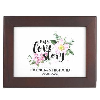 Our Love Story Cute Floral Wedding Memories Keepsake Box