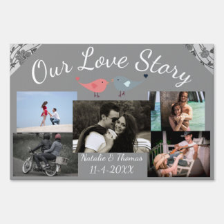 Our Love Story Gray Floral Love Birds