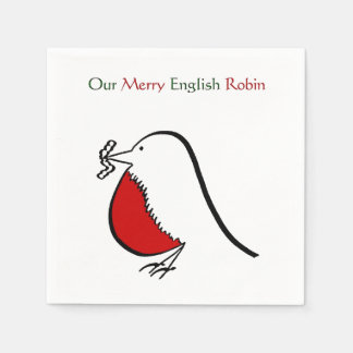 Our Merry English Robin Disposable Napkins
