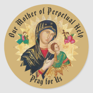 Our Mother of Perpetual Help with Baby Jesus Classic Round Sticker