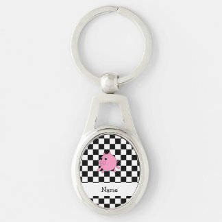 our name pig black white checkers keychain