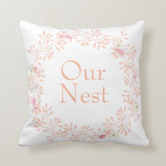 Our Nest Flower Wreath Decorative Pillow