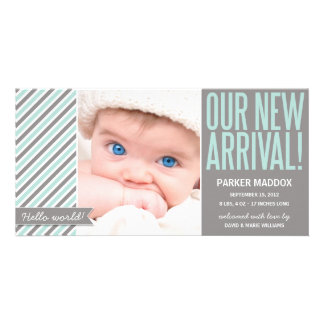 OUR NEW ARRIVAL IN GRAY | BIRTH ANNOUNCEMENT PERSONALIZED PHOTO CARD