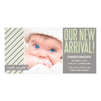 OUR NEW ARRIVAL IN GREEN | BIRTH ANNOUNCEMENT PHOTO GREETING CARD