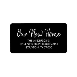 Our New Home Return Address Labels | Black