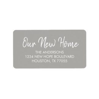 Our New Home Return Address Labels | Grey