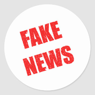 Our society is dominated by fake news round sticker