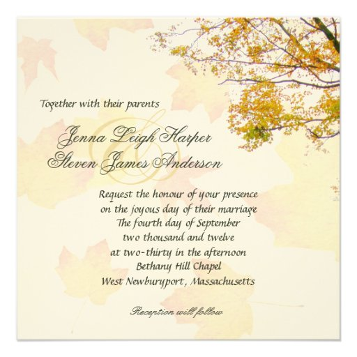 Our Tree, Fall Wedding Square Invitation