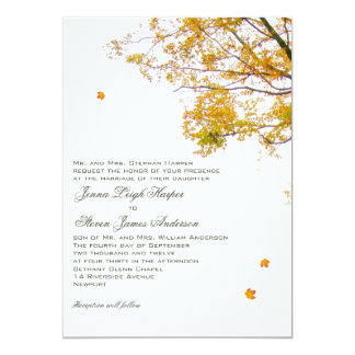 "Our Tree in Fall Parents Inviting Wedding 5"" X 7"" Invitation Card"