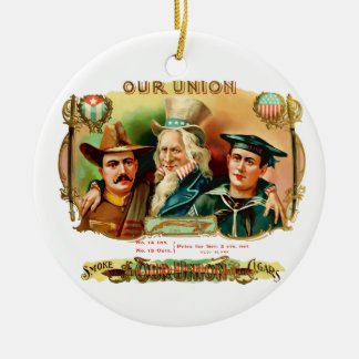 Our Union Vintage Cigar Box Label Ceramic Ornament