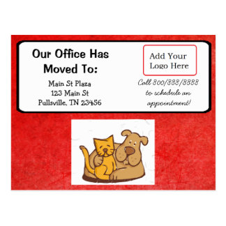 Our Veterinarian Office moved Announcement Postcard