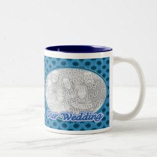 Our Wedding blue floral photo frame Two-Tone Coffee Mug