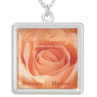 Our Wedding Bride & Groom Necklace - Rose Pendant