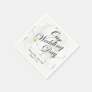 Our Wedding Day Bells Disposable Napkins