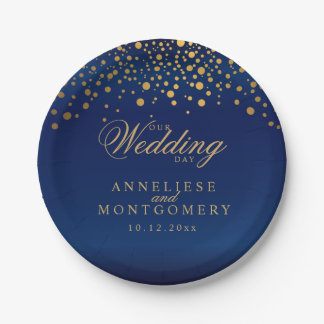 Our Wedding Day Navy Blue & Gold Confetti Dots Paper Plate