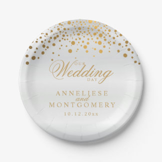 Our Wedding Day White Satin & Gold Confetti Dots Paper Plate