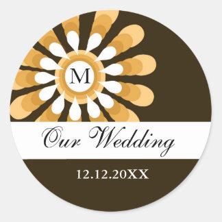 Our Wedding Monogram Stickers(9)Modern Flower Round Sticker