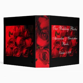 """Our Wedding Photos"" - Crimson Rose Bouquet 3 Ring Binder"