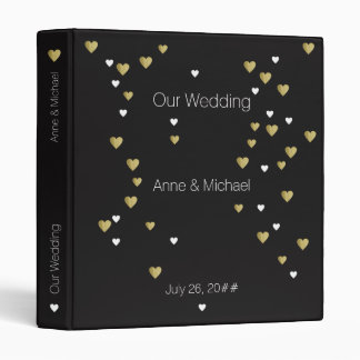 our wedding, romantic love hearts black 3 ring binder