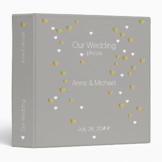 our wedding, romantic love hearts gray binders