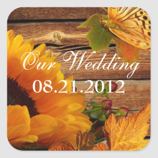 Our Wedding Stickers Square Rustic Fall Sunflower