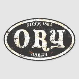 Ouray Black Grunge Rust Oval Sticker