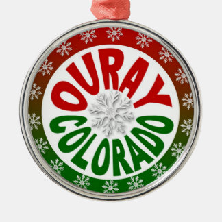Ouray Colorado red green snowflake ornament
