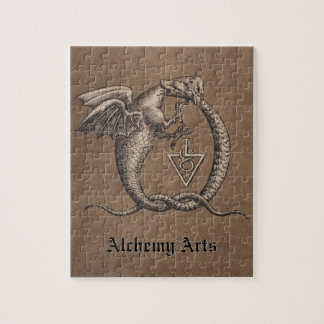 Ouroboros Dragons Leather Personalized Jigsaw Puzzle