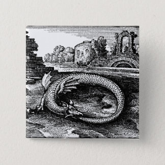 Ouroboros Serpent Pin-back 2 Inch Square Button