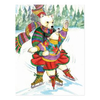Ours blancs de patinage de glace carte postale