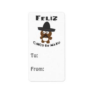 Ours de Feliz Cinco De Mayo Étiquette D'adresse