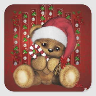 Ours de nounours de Père Noël avec du sucre de Autocollants Carrés