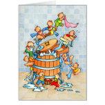 Ours et baquet de lavage - carte de voeux des enfa