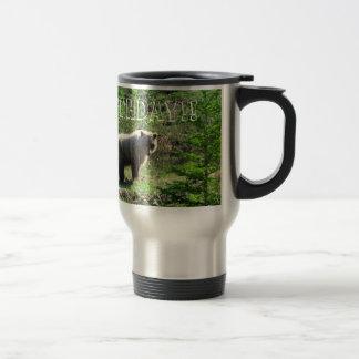 Ours gris dans la forêt ; Joyeux anniversaire Tasse À Café
