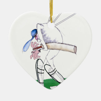 out for nought - cricket, tony fernandes ceramic heart ornament