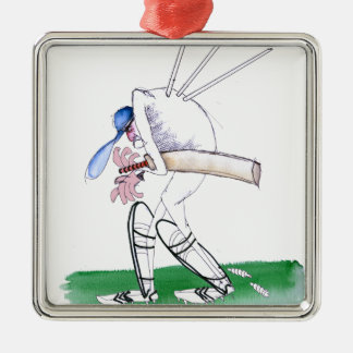out for nought - cricket, tony fernandes Silver-Colored square ornament