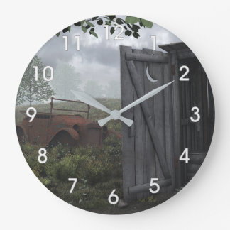 OUT HOUSE AND RUSTED CAR CLOCK