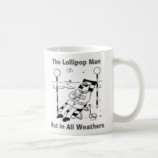 Out In All Weathers. Lollipop Man Sunbathing Coffee Mug