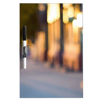 Out of focus image of streets and buildings dry erase boards