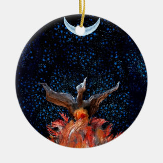 Out of the Flames: Phoenix Rising Round Ceramic Ornament