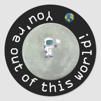 Out Of This World Astronaut Birthday Party Classic Round Sticker