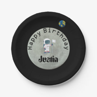 Out Of This World Astronaut Happy Birthday Party 7 Inch Paper Plate