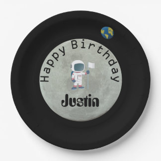 Out Of This World Astronaut Happy Birthday Party 9 Inch Paper Plate