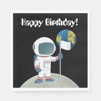 Out Of This World Astronaut Happy Birthday Party Paper Napkin