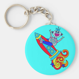 Out of this World Robot Basic Round Button Keychain