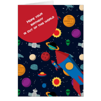 Out of this World Rocket Birthday Card